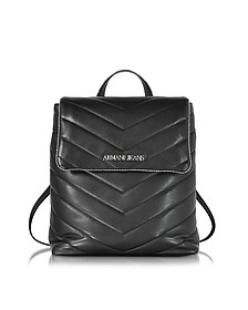 Black Quilted Eco Leather Backpack - Armani Jeans