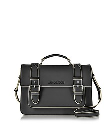 Black Eco Leather Medium Crossbody Bag - Armani Jeans