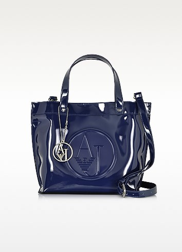 Small Patent Eco Leather Tote - Armani Jeans