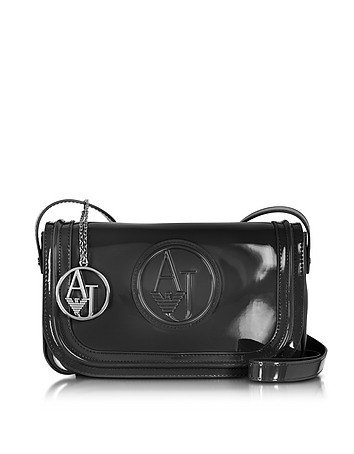 Armani Jeans - Signature Faux Patent Leather Crossbody