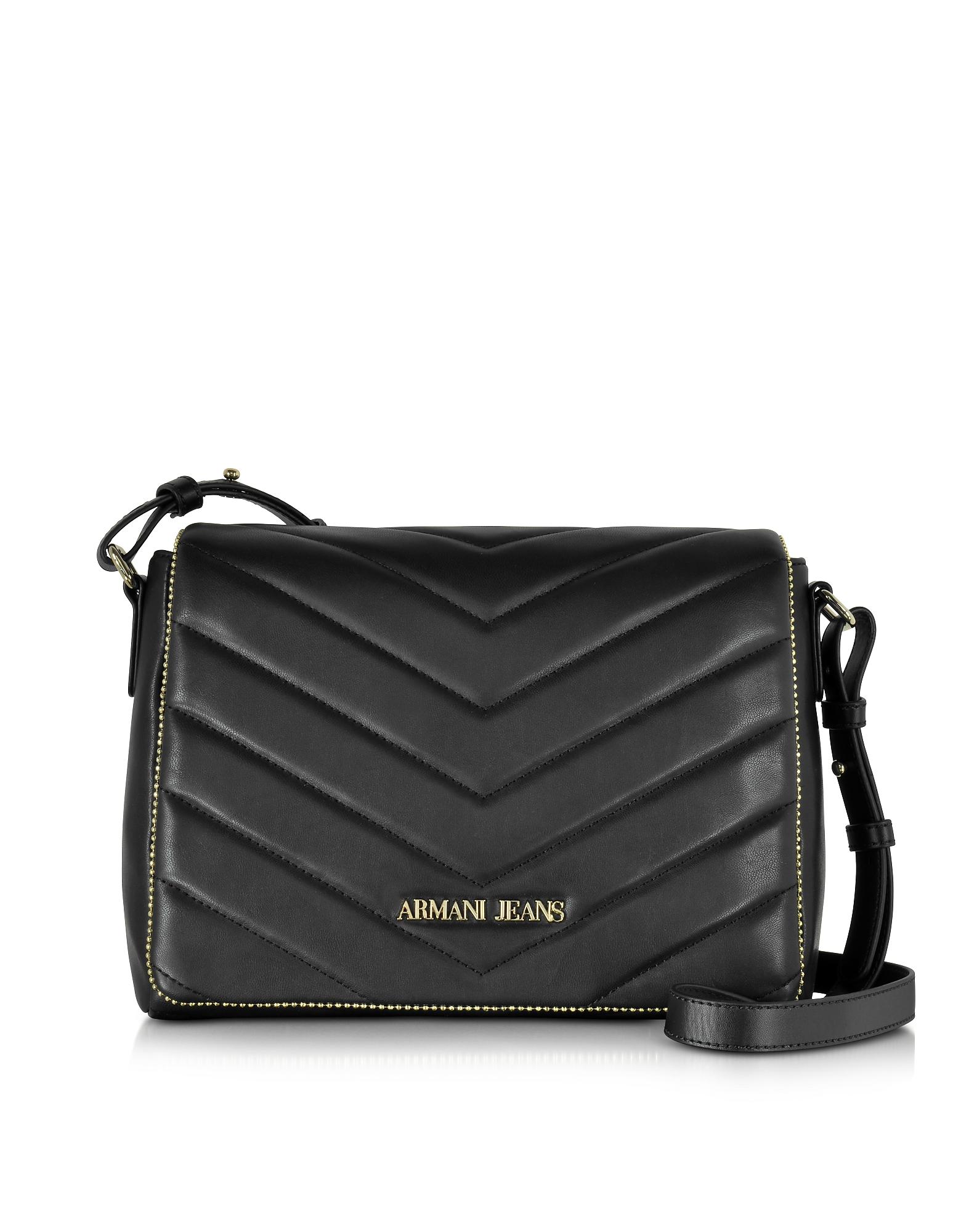 Armani Jeans Handbags, Black Faux Leather Crossbody