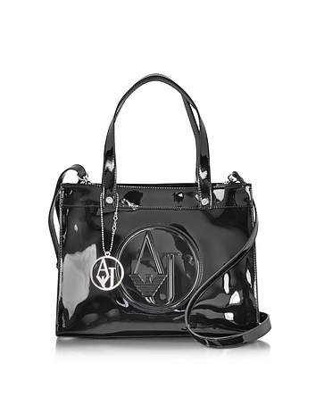 Armani Jeans - Signature Faux Patent Leather Tote