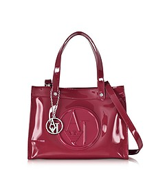Signature Faux Patent Leather Tote - Armani Jeans