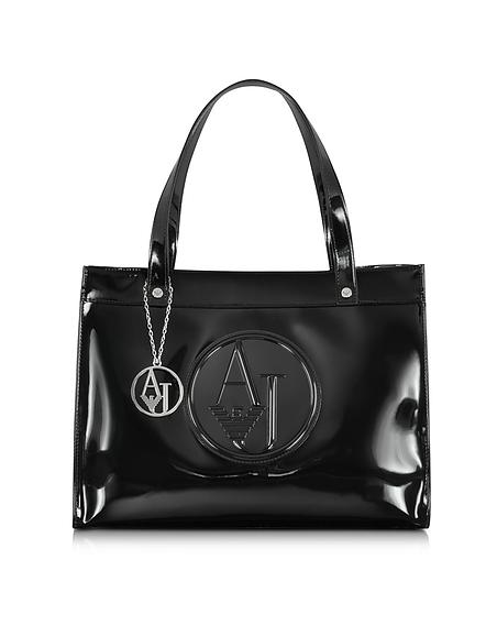Foto Armani Jeans Shopper in Vernice con Charm AJ e Logo Borse donna