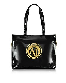 Black Faux Patent Leather Tote - Armani Jeans