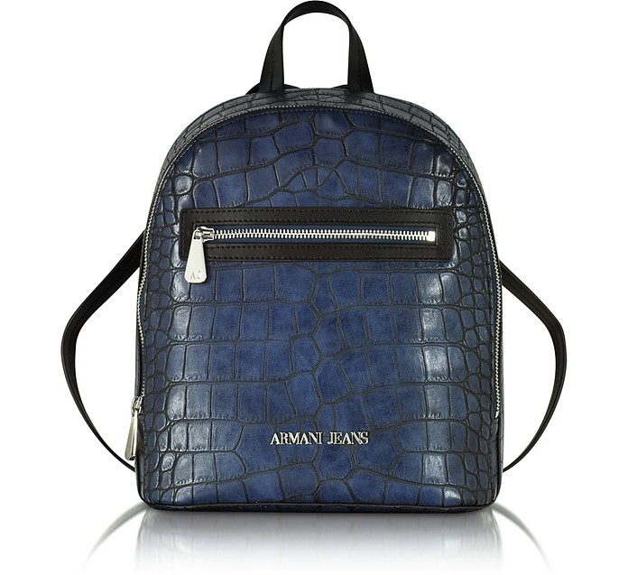 Dark Navy Faux Embossed Croco Leather Backpack - Armani Jeans