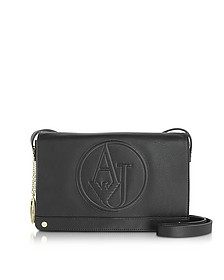 Black Faux Leather Crossbody Bag - Armani Jeans