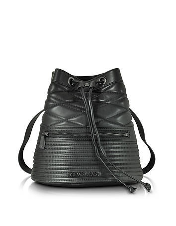 Black Quilted Eco Leather Backpack