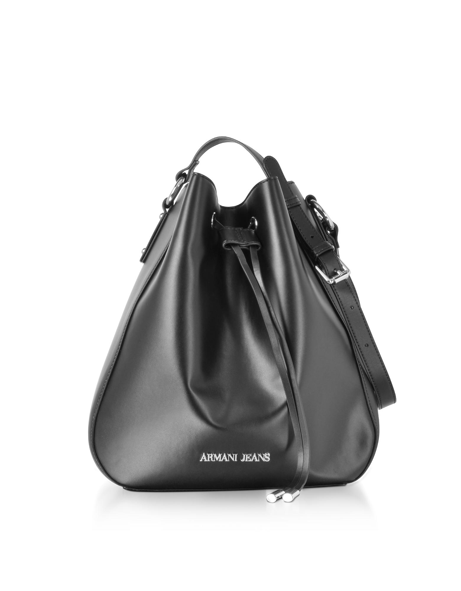 Armani Jeans Handbags, Black Signature Bucket Bag