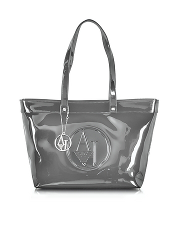 Gray Eco Patent Leather Large Tote Bag