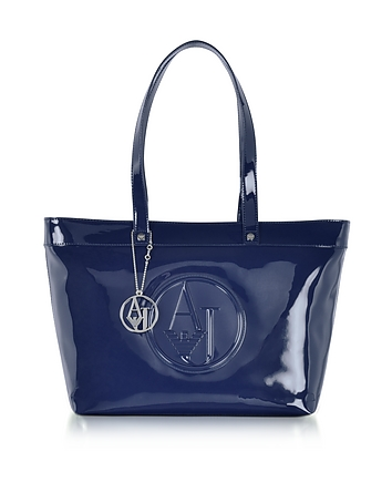 Midnight Blue Eco Patent Leather Large Tote Bag
