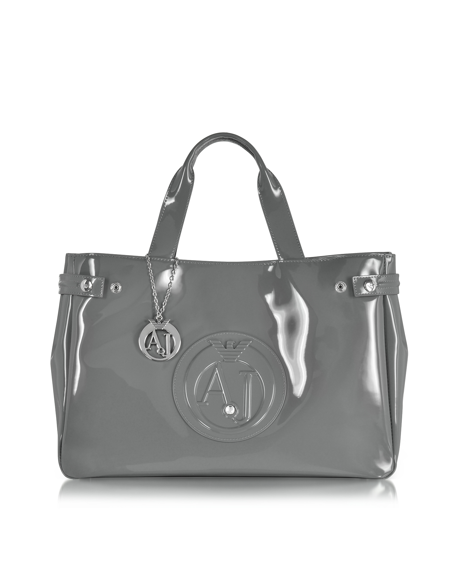 Armani Jeans Handbags, Large Gray Faux Patent Leather Tote Bag