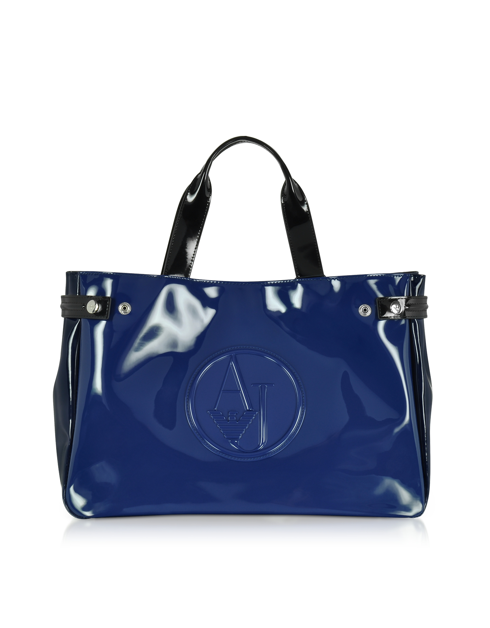 Armani Jeans Handbags, Large Blue, Dark Navy and Black Faux Patent Leather Tote Bag