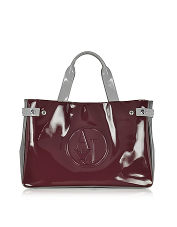 Large Burgundy Taupe and Light Gray Faux Patent Leather Tote Bag