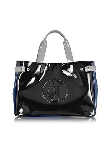 Large Black Blue and Light Gray Faux Patent Leather Tote Bag