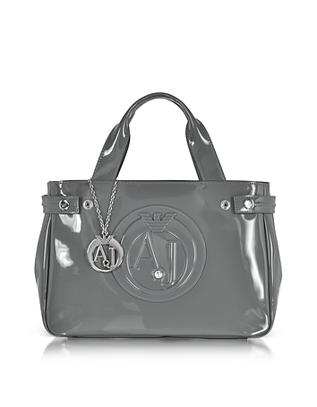 Medium Gray Faux Patent Leather Tote Bag