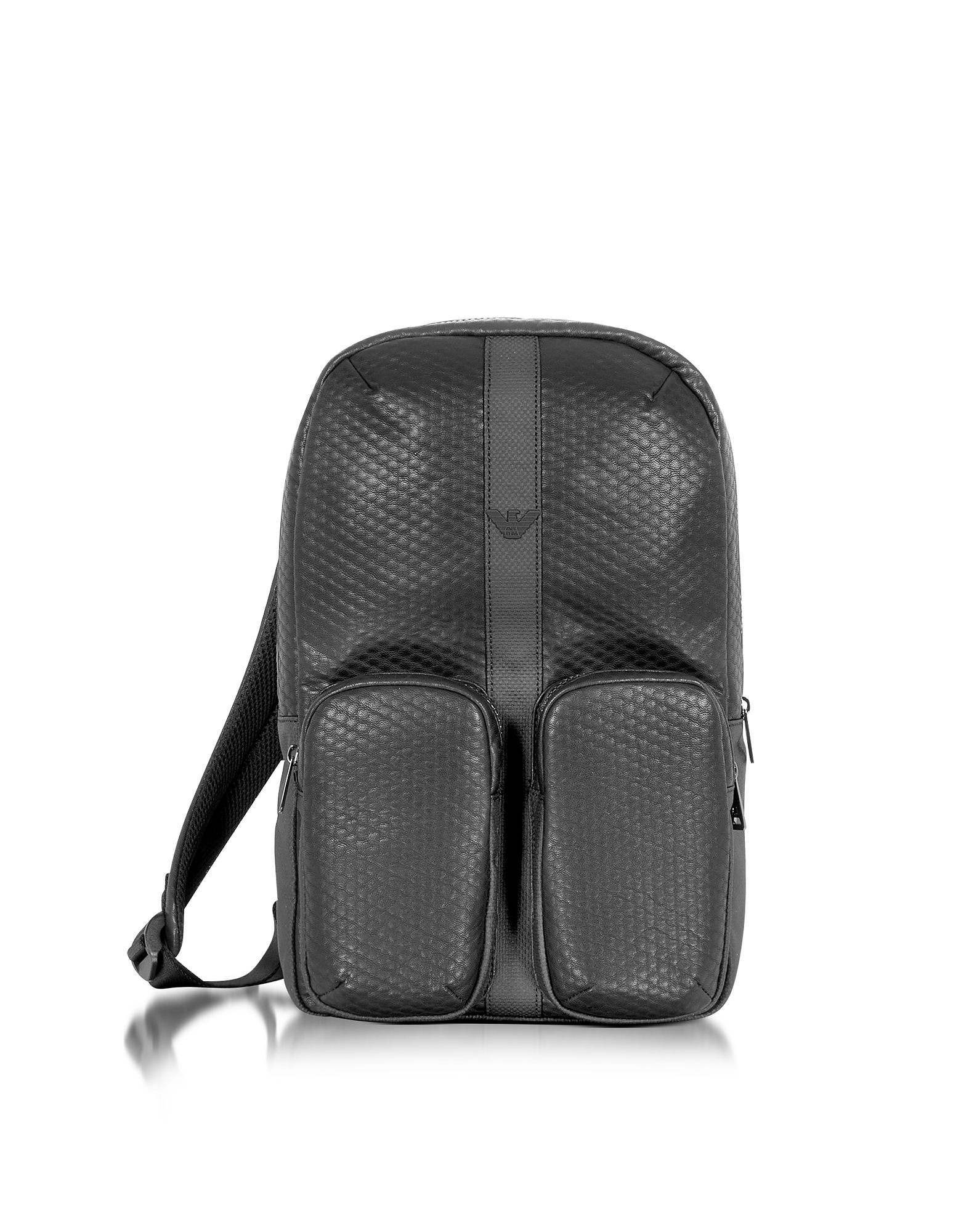Черный Рюкзак из Эко Кожи с Принтом под Углеродное Волокно