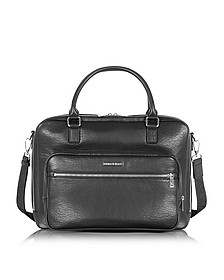 Black Eco Leather Men's Briefcase - Armani Jeans