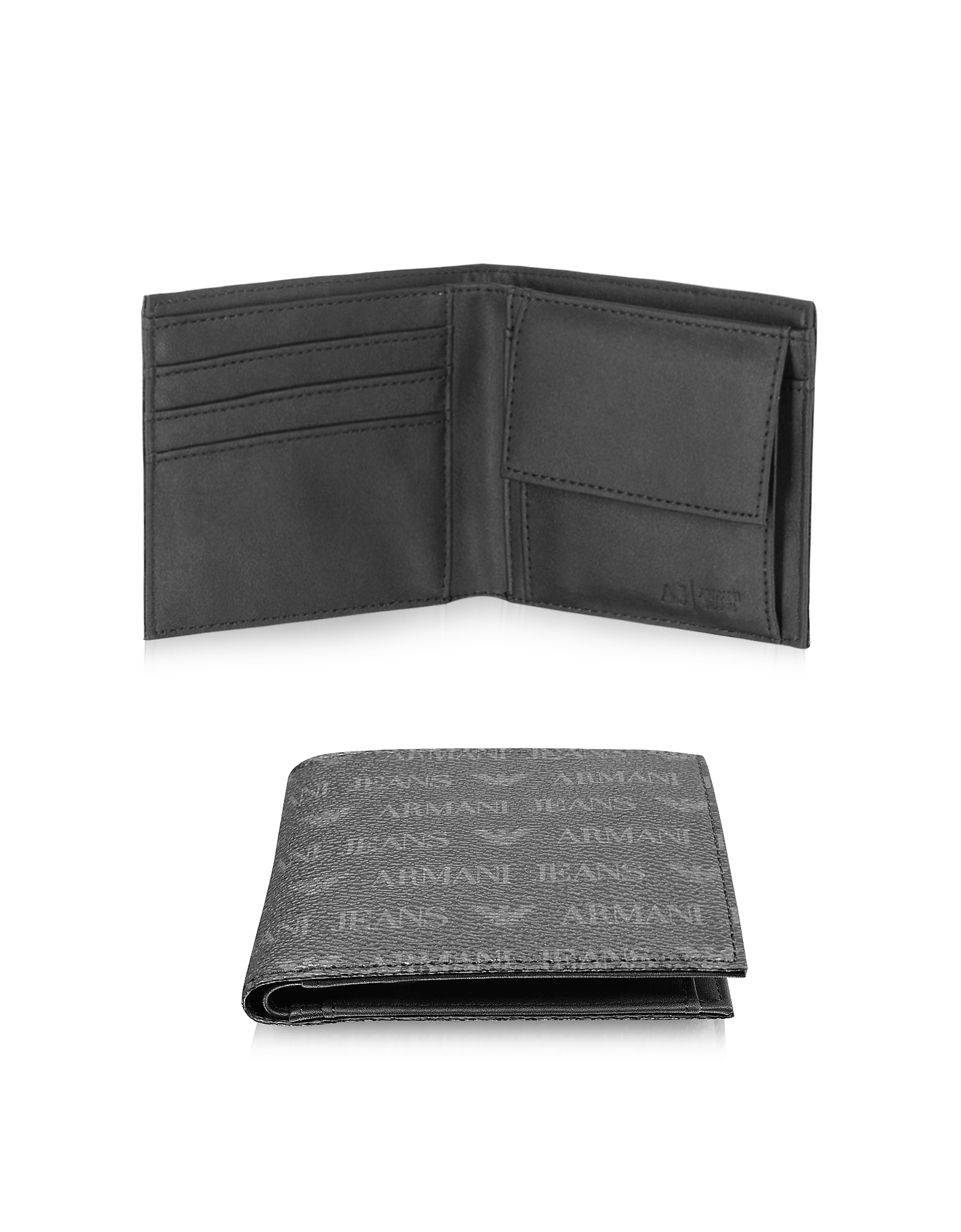 Black Logo Pattern Eco Leather Men's Wallet от Forzieri.com INT