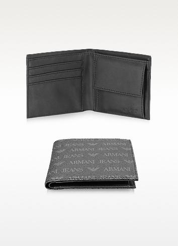 Armani Jeans Черный Фирменный Мужской Бумажник из Эко Кожи