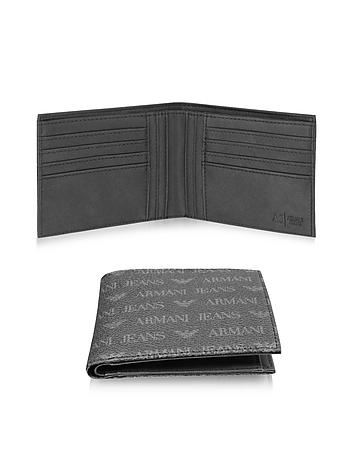 Armani Jeans - Black Signature Eco Leather Bi-Fold Men's Wallet