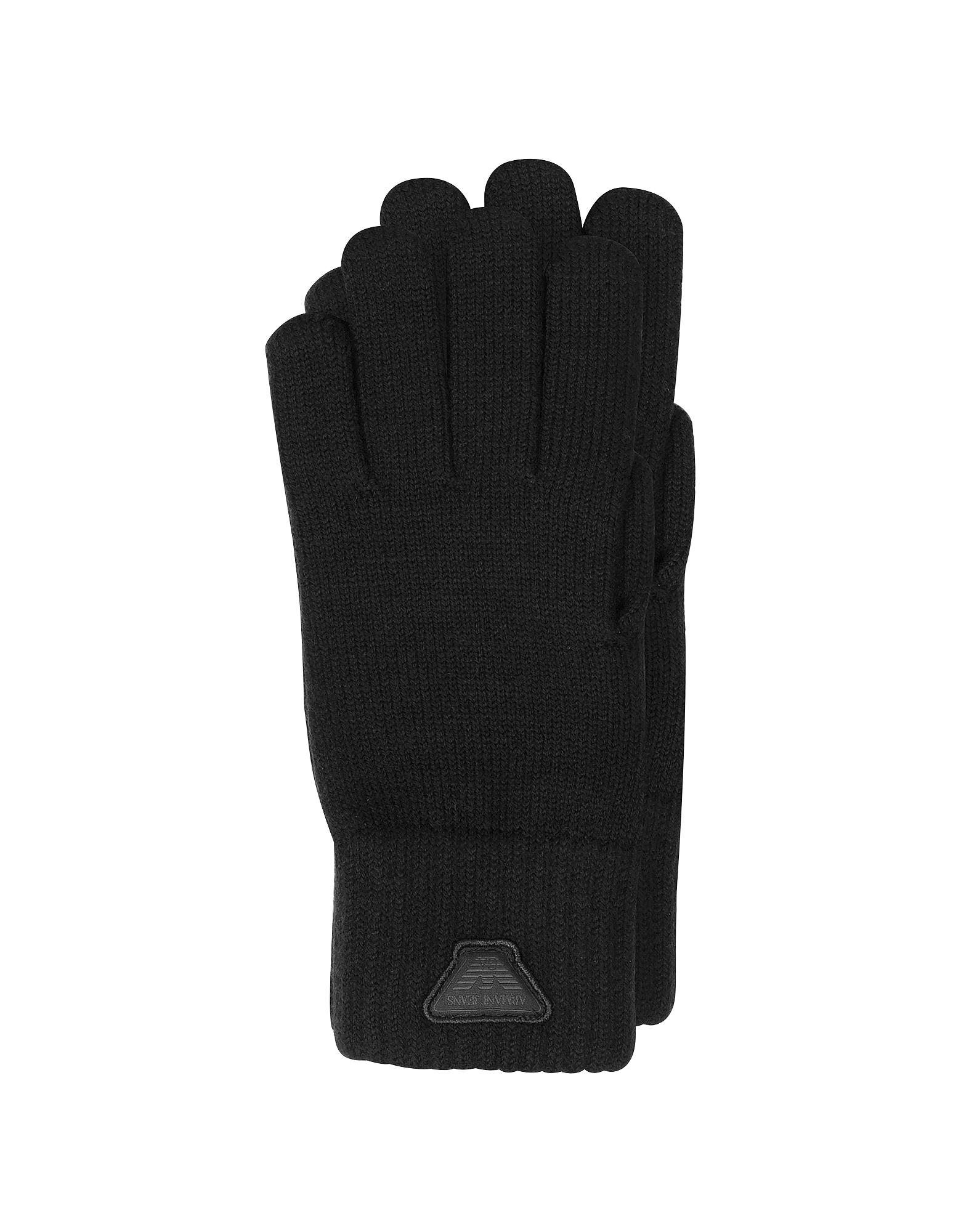 Черные Мужские Перчатки из Смеси Шерсти