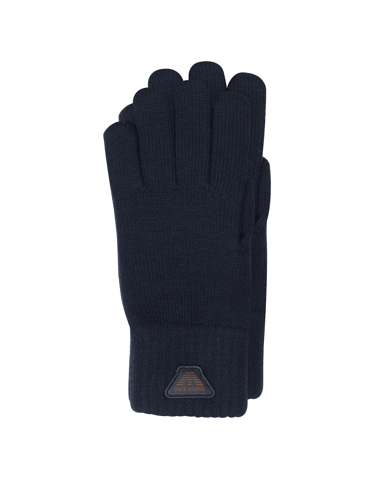Armani Jeans Men's Gloves, Blue Wool Blend Men's Gloves
