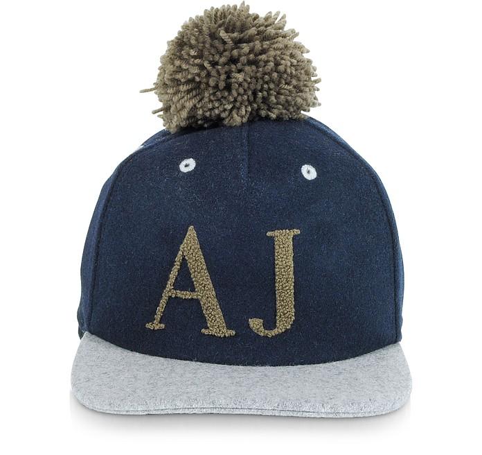 Blue and Gray Wool Blend Pom Pom Baseball Hat - Armani Jeans
