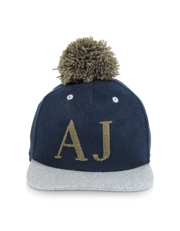 Blue and Gray Wool Blend Pom Pom Baseball Hat