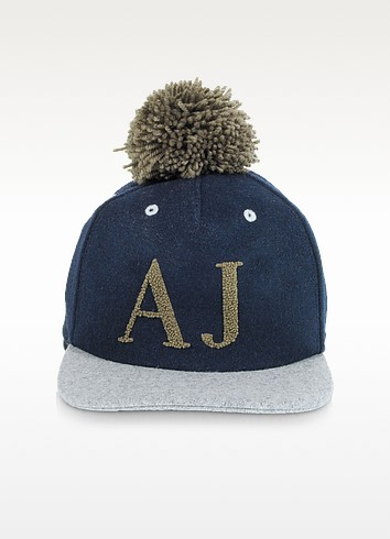 Blue and Gray Wool Blend Pom Pom Baseball Hat - Armani Jeans