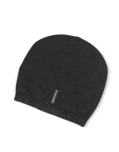 Foto Armani Jeans Cappello in Puro Cashmere con Logo Cappelli Uomo