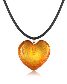 Silver Leaf and Murano Glass Heart Pendant Necklace - Akuamarina