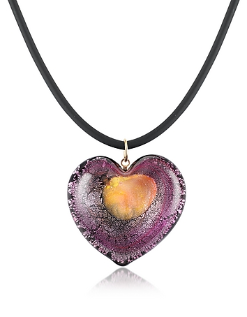 Akuamarina - Silver Leaf and Murano Glass Heart Pendant Necklace