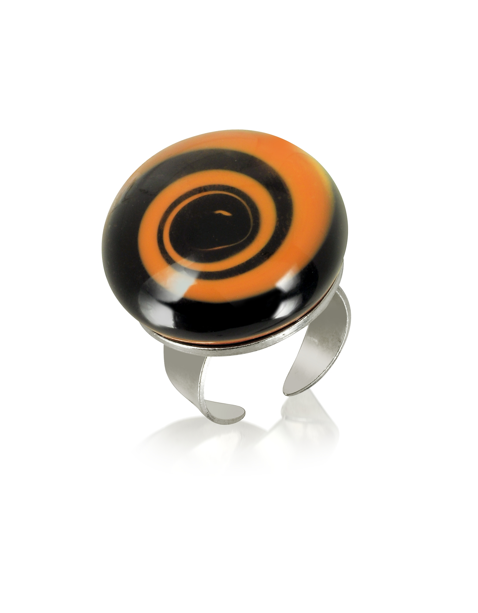 Swirling Murano Glass & Sterling Silver Open Ring, Orange