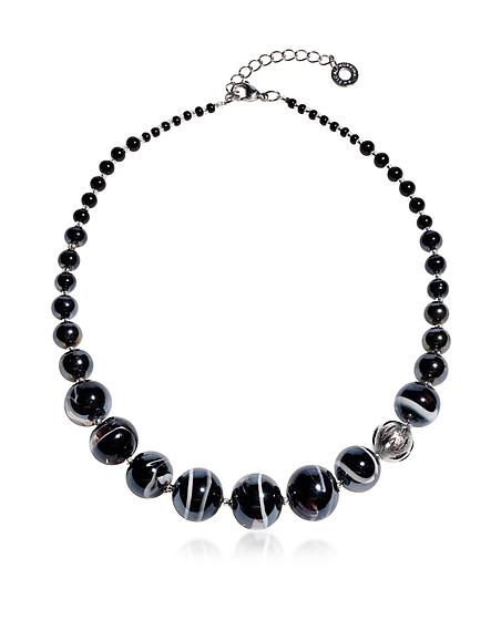 Antica Murrina Veneziana Optical 2 - Halskette aus schwarzem Muranoglas