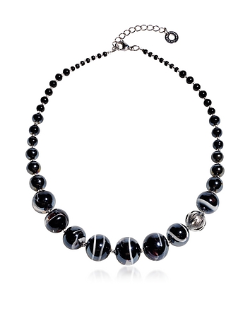 Optical 2 - Black Murano Glass Choker