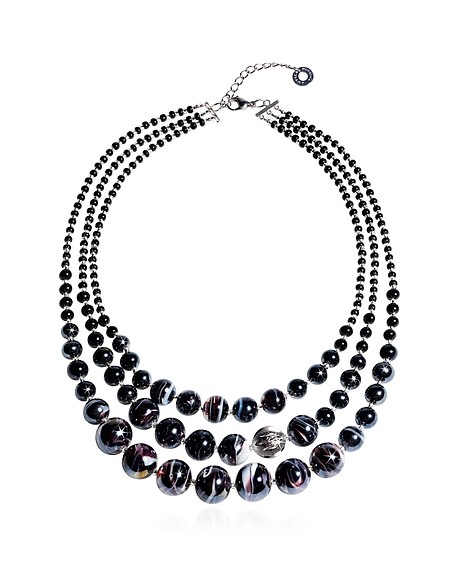 Antica Murrina Optical 1 Top - Collier en Verre de Murano Noir Mélangé