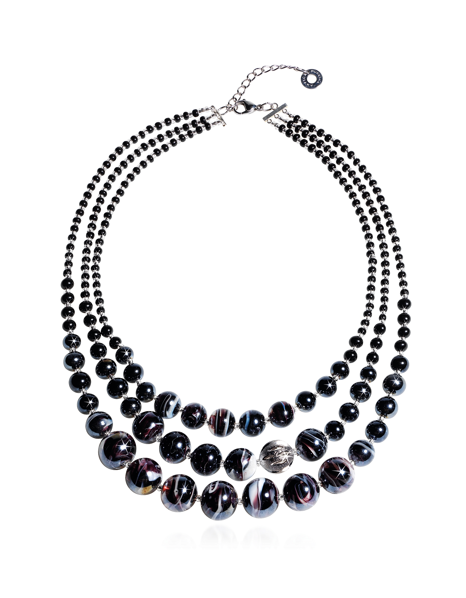 Optical 1 Top - Black Murano Glass Choker