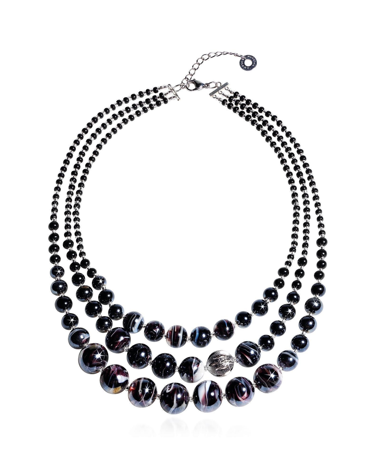 Antica Murrina Necklaces, Optical 1 Top - Black Murano Glass Choker