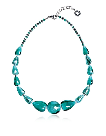 Marina 2 Basic - Turquoise Green Murano Glass and Silver Leaf Choker