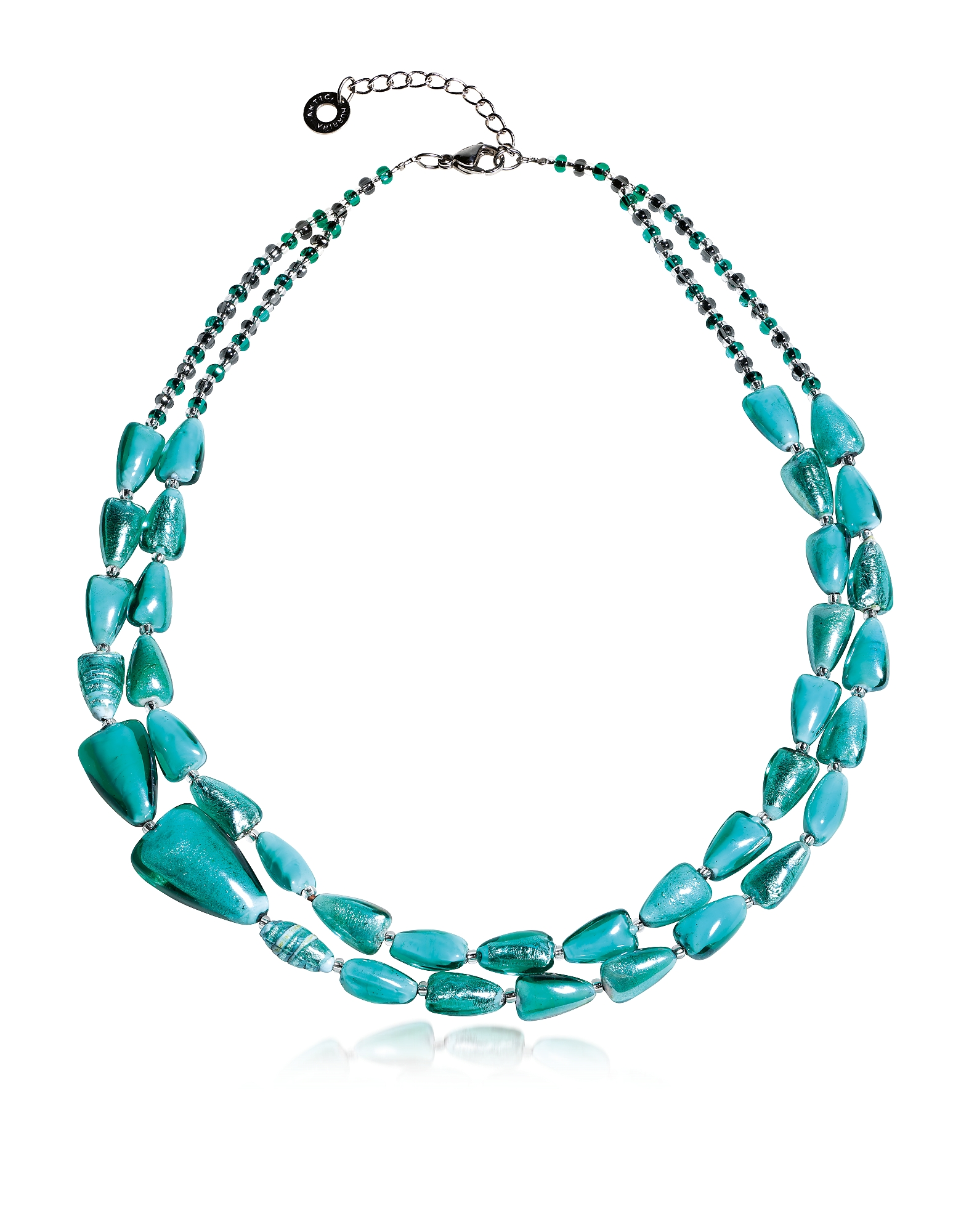 Antica Murrina Necklaces, Marina 1 Double - Turquoise Green Murano Glass and Silver Leaf Necklace