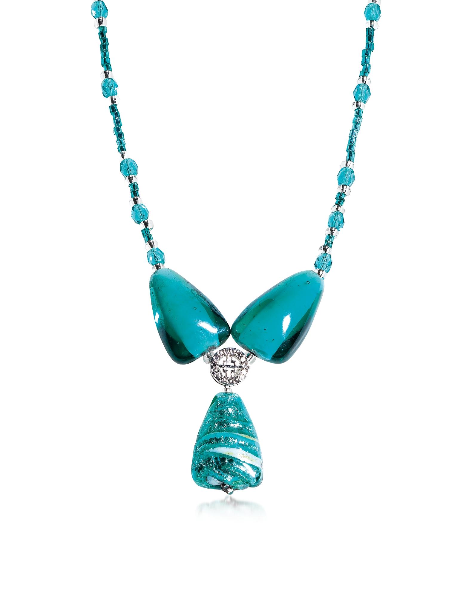 Marina 3 - Ожерелье с Подвеской из Бирюзово-Зеленых Бусинок Стекла Мурано и Листиком Серебра