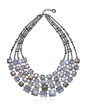 Antica Murrina - Atelier Byzantium - Grey Murano Glass & Silver Leaf Choker