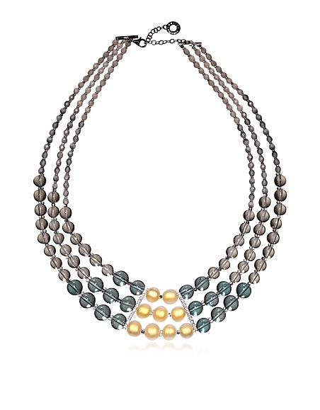 Antica Murrina Veneziana Atelier Nuance - Halskette aus Muranoglas in grau und Bernstein