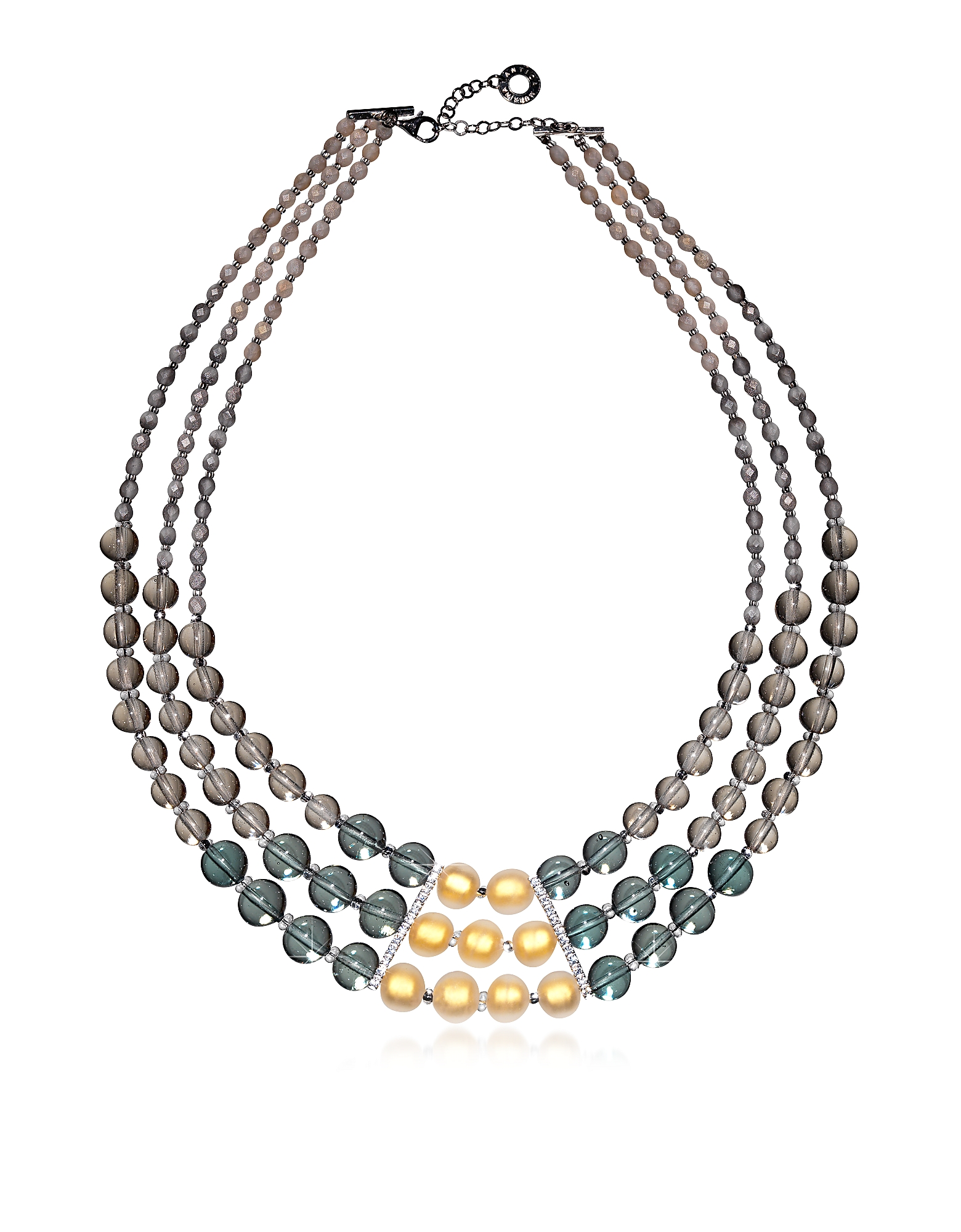 Image of Antica Murrina Designer Necklaces, Atelier Nuance - Grey & Amber Murano Glass Choker