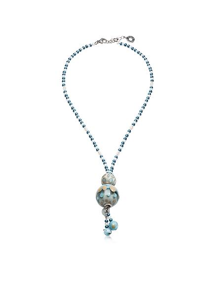 Antica Murrina Veneziana Papaya 3 Halskette mit Anhänger in hellblau mit Muranoglasperlen