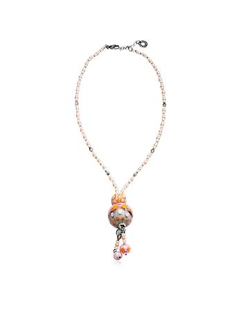 Papaya 3 Orange Pendant Necklace w/Pastel Murano Glass Beads