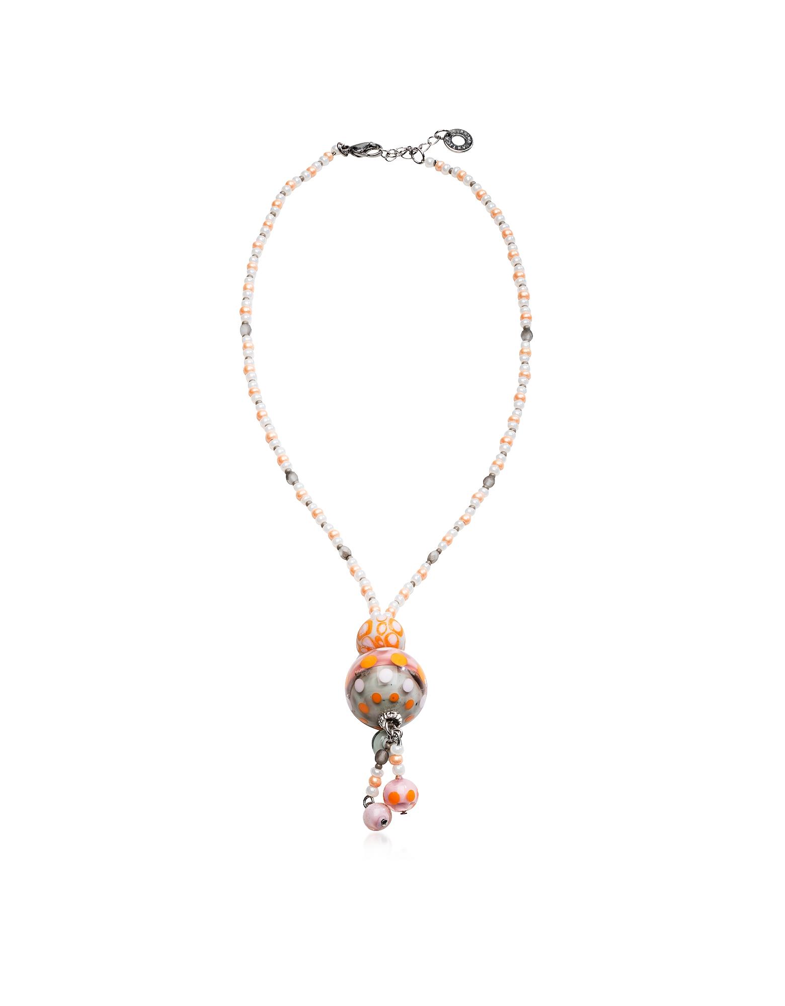 Papaya 3 - Ожерелье из Пастельного Стекла Мурано с Оранжевой Подвеской