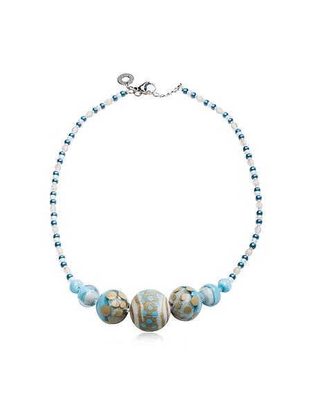 Antica Murrina Veneziana Papaya 2 Choker Halskette aus Muranoglas in hellblau