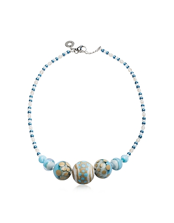 Antica Murrina Designer Necklaces, Papaya 2 Light Blue Pastel Murano Glass Choker am290216-003-00
